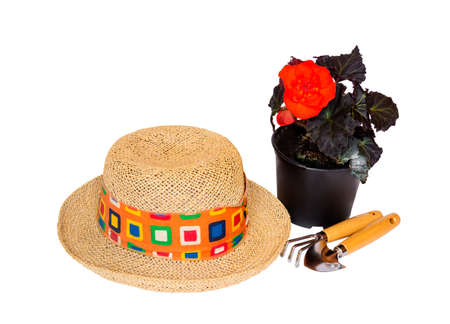 Straw hat, flower seedling and gardening tools isolated on white background Stock Photo