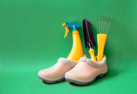 Pink rubber galoshes and yellow gardening tools on green background with copy space.