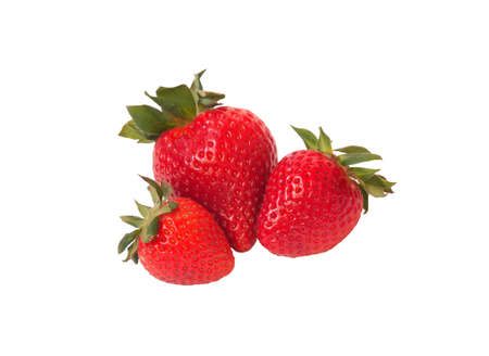 Fresh ripe strawberries isolated on white background. Selective focus.