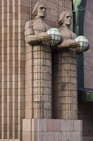 Art nouveau sculptures at the central railway station of Helsinki - Finland photo