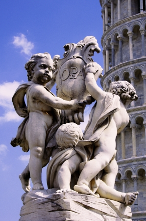 cherubs: Leaning tower of Pisa with the famous statue of cherubs - Piazza dei Miracoli - Pisa
