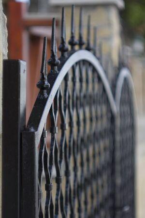 Black iron gate Stock Photo