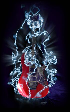 Red electric metal guitar surrounded by lightnings.  photo