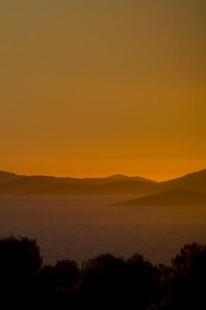 Simply beautifull orange colored mediterrain sunset, clear sky