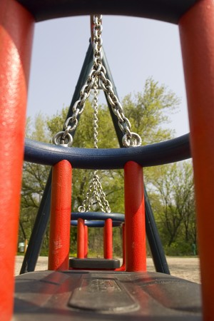 Modern chain swing from interesting perspectival view photo