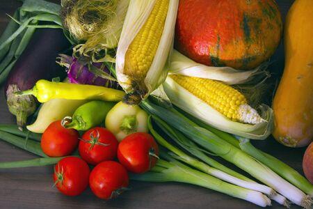 autumn vegetables, like pumpkin, pepper, sweatcorn, tomato, onion etc.