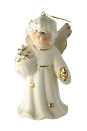 White china christmas angel with golden stars