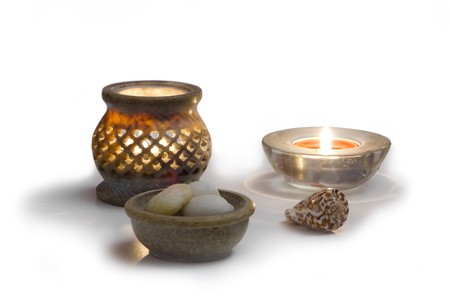 Candles, and stones, concept of,  wellness, zen, health and mental peace