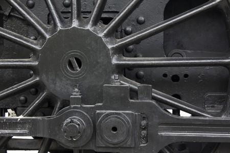 steam engines: Closeup of vintage steam engines black, iron wheel Stock Photo