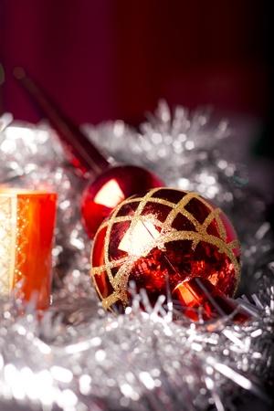 Christmas decoration, balls, ribbons, and shiny things