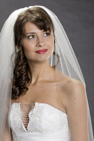 Portrait of a young, beautiful bride, with brown hair