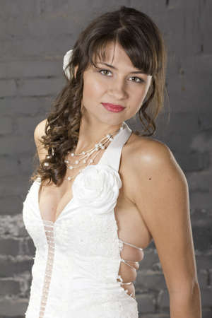 Portrait of a young, beautiful bride, with brown hair photo