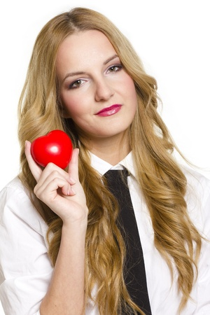 Young woman holding red heart in valentines day, on white background photo