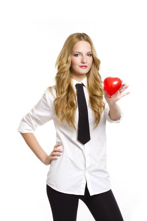 Young woman holding red heart in valentine's day, on white background photo