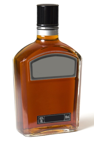 Full bottle of whiskey or brandy on white background