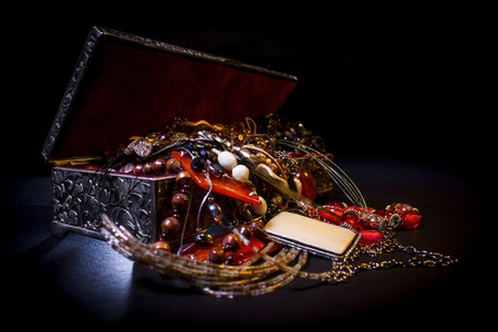 Silver treasure box in the dark, full of necklaces and jewelery Stock Photo - 15577238