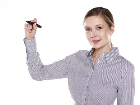 young business woman writing with pen photo