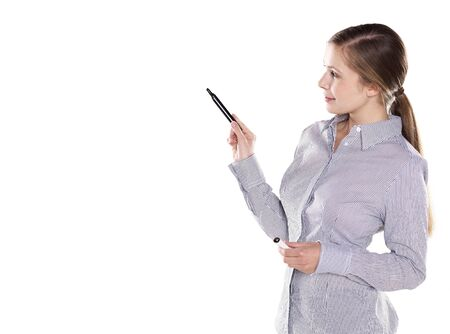 advertising logo: Young woman in business dress indicating with pen Stock Photo