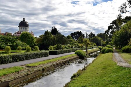 Leisure walk in the park in Invercargill city. 스톡 콘텐츠