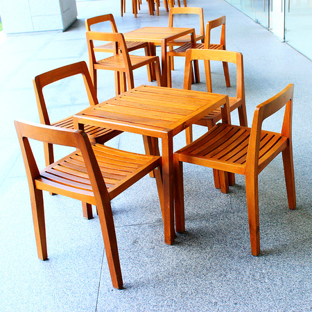 degradation: wood table and chair