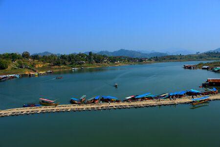 longest: Longest bamboo bridge in Thailand, Sangkhlaburi District, Kanchanaburi, Stock Photo