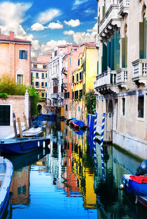 Venice Grand canal with gondola in summer bright day, Italy photo