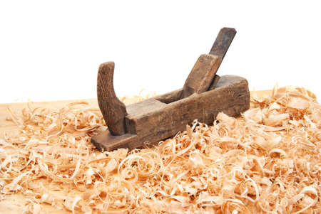 wood shavings: Hand jack plane, wood chips and sawdust