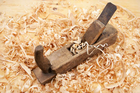 Hand jack plane, wood chips and sawdust photo