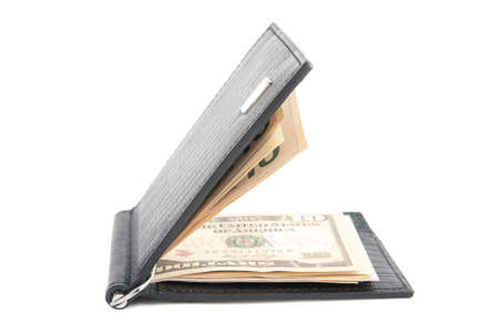 black leather wallet with with credit cards and money isolated on white background photo