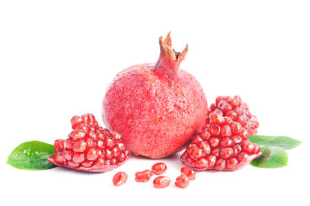 ripe pomegranate isolated on the white background photo
