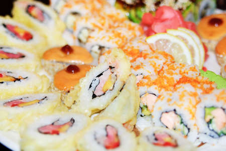 grig: Appetizing tasty Japan rolls and sushi assortment for menu