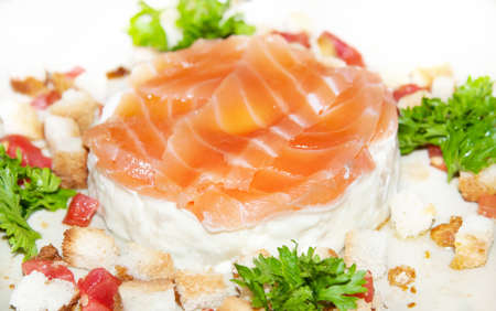 Appetizing tasty Japan salad with salmon and parsley for menu photo