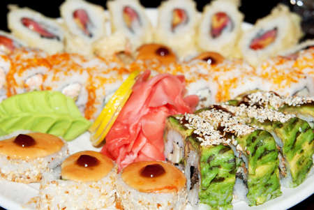 Appetizing tasty Japan rolls and sushi assortment for menu