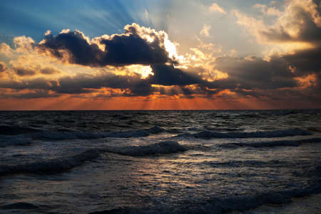 adriatic: Bright sunset under the sea with yellow red gradient colors