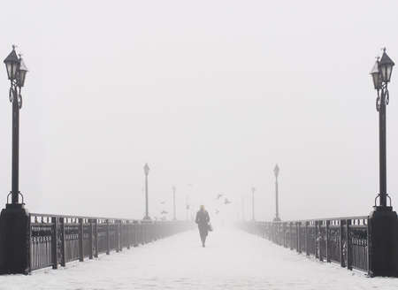 Bridge city landscape in foggy snowy winter day - alone woman, lanterns and doves flock - Ukraine, Donetsk photo