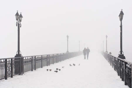 white pigeon: Bridge city landscape in foggy snowy winter day - walking couple, lanterns and doves flock - Ukraine, Donetsk