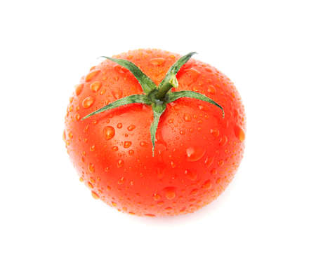 beautiful fresh tomato with water drops isolated on white background photo