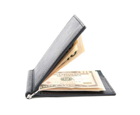 opened black leather wallet with money isolated on white background photo