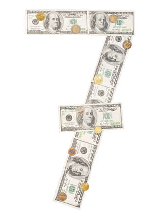 4 7: Number 7 seven wrapped 100 dollar banknote Stock Photo