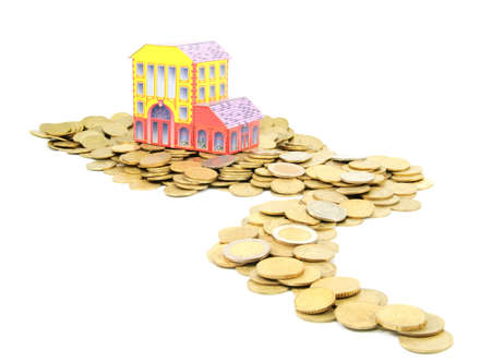 commercial activity: coin money road to house isolated on white background - bank or estate concept, buying property idea, savings or credit for real estate concept