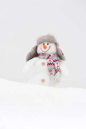 Happy winter snowman background (copy space) photo