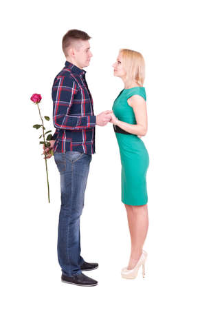 propose: man with rose making surprise or marriage purpose for his woman Stock Photo