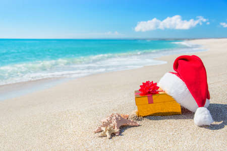 Santa Claus hat and gold christmas gift box on the seashore with sea stars against blue sky