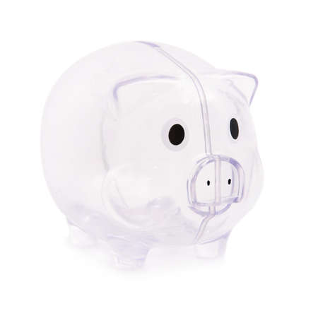 Empty piggy bank isolated on the white background