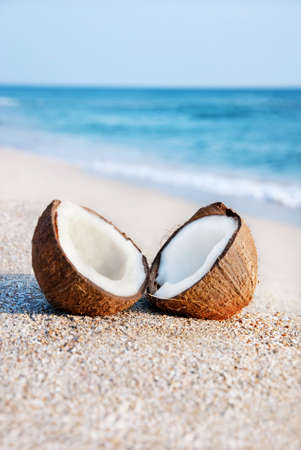 two halfs of coconut against sea at the sea sand beach