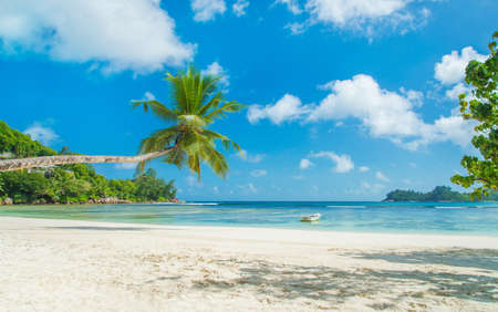 Tropical beach Baie Lazare with boat, Mahe island, Seychelles - vacation background photo