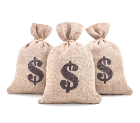 Three burlap money bags with dollar symbol print tied with a string isolated on white background Stock Photo - 32072671