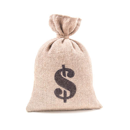 Sacking money bag with dollar symbol print tied with a string isolated on white background