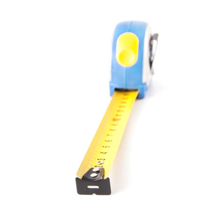 Blue tape measure isolated on white background Stock Photo