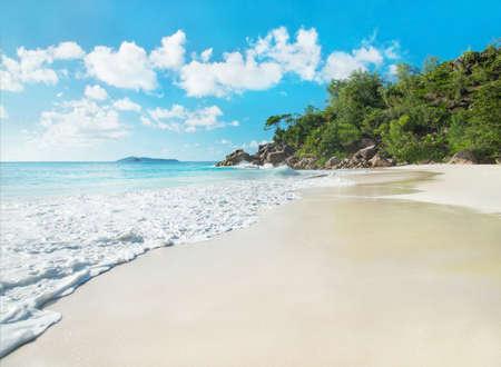 seychelles: Tropical beach Anse Georgette panorama, island Praslin, Seychelles - vacation background
